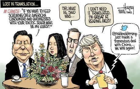 Image result for trump xi trade war cartoon