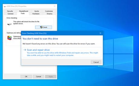 scan and repair drive in windows 10