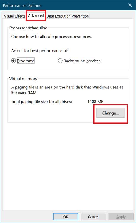 performance options advanced tab windows 10