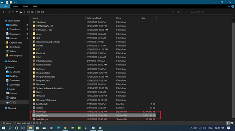 windows 10 pagefile.sys location