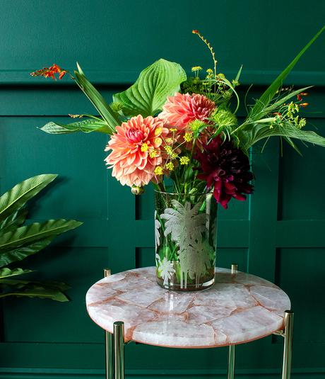 Etched green glass vase - tips for flower arranging