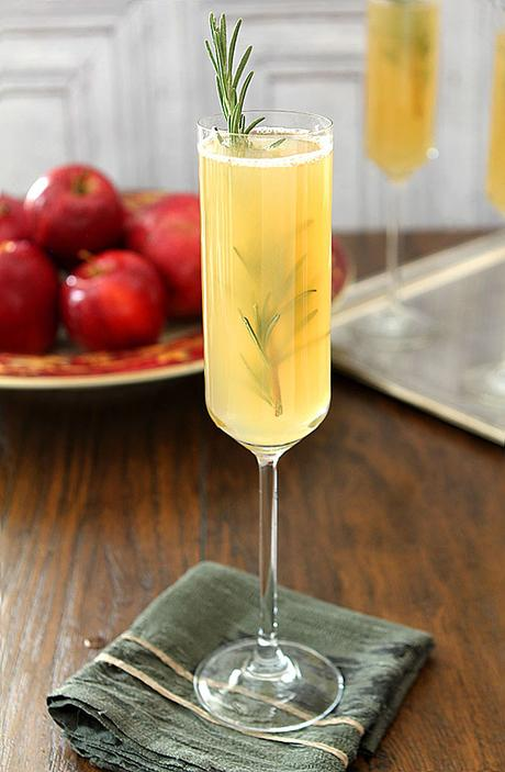 Apple Cider Bellini Cocktail with Rosemary