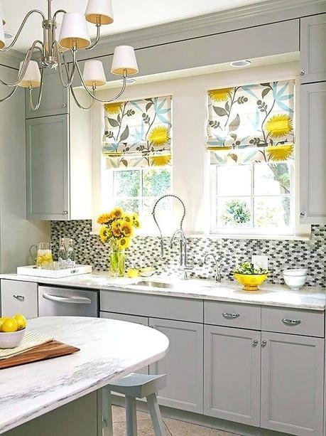 yellow window shades blinds kitchen treatments