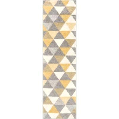 yellow floor runner brick road gray carpet hallway entrance kitchen long mat rug durable