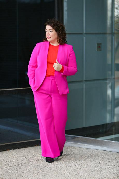 Hot Pink Wide Leg Pantsuit with Red for Career Day