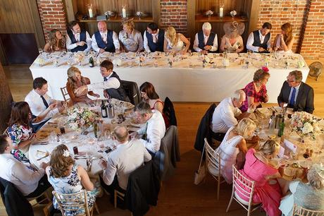 the top table viewed from the balcony at gaynes park