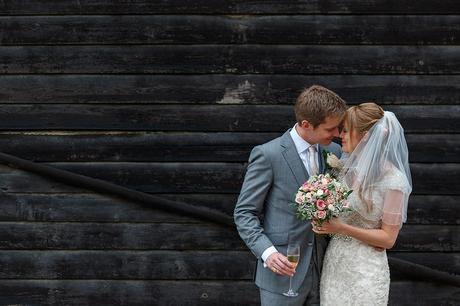 bride and groom portrait at a suffolk barn wedding