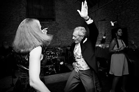 guests dancing at a somerset barn wedding