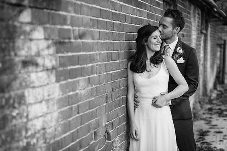bride and groom at bruisyard hall