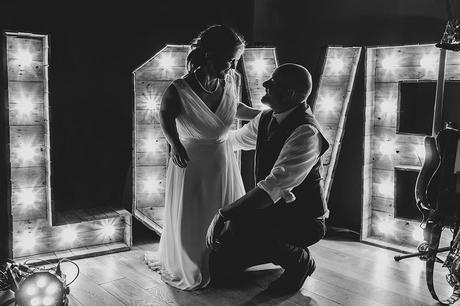 bride and groom pose at a hautbois hall wedding