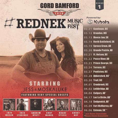 Gord Bamford Announces #REDNEK Music Fest Tour with Jess Moskaluke and Friends