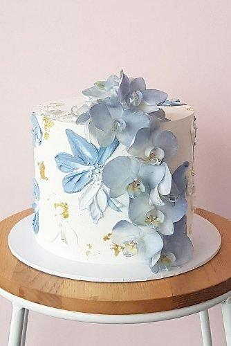engagement party cakes blue cake decor flowers