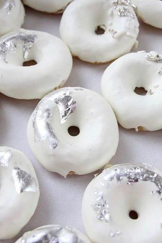 engagement party cakes white and silver donuts