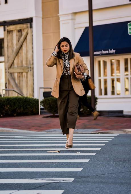 pant trends for fall, fall fashion 2019, brown wide leg high waist trousers, Leather jacket tan, Negin mersehi tan leather jacket, leopard print blouse, street style, bottega bag, myria