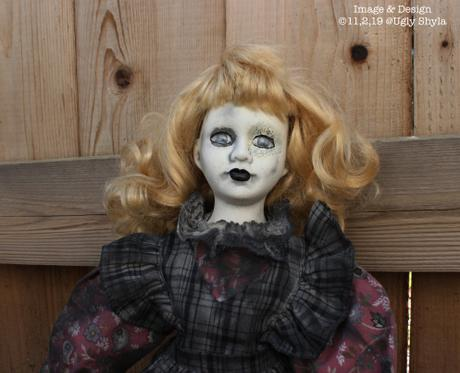 Gothic Doll , Art Doll Girl in Black And White Plaid By Ugly Shyla , Creepy cute , Unique Doll , Macabre Doll , Gothic Gifts , Spooky Doll