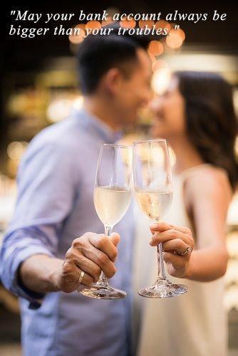 irish wedding toast newlyweds holding champagne