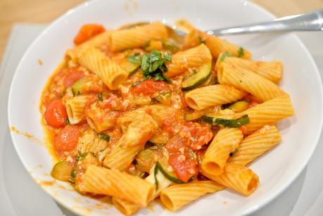 Three cheese vegetable pasta bake