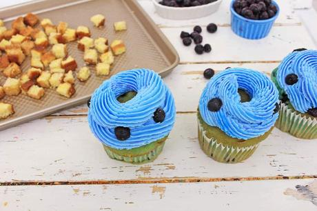 Healthy Blueberry Cupcakes Topped with French Toast