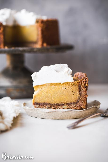 ThisBaked Vegan Pumpkin Cheesecakewill wow you with its rich texture, spices, and graham cracker style crust. It's the perfect vegan Thanksgiving dessert.