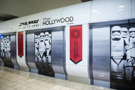 First Order Stormtroopers appear to be on a terminal train at Orlando International Airport in Orlando, Fla., Nov. 16, 2019. Disney installed these wraps on the terminal shuttle stations to bring the adventure of Star Wars: Galaxy's Edge at Disney's Hollywood Studios to airport travelers