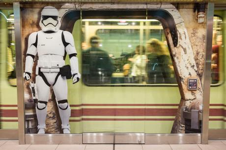 A First Order Stormtrooper appears to stand outside the shuttle station at Orlando International Airport in Orlando, Fla., Nov. 16, 2019, in an artistic rendering installed by Disney at the airport to bring the excitement of Star Wars: Galaxy's Edge at Disney's Hollywood Studios to airport travelers.