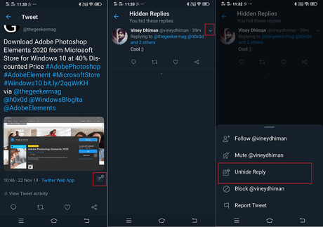 unhide tweets on your tweet in twitter app