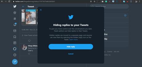 hiding replies to your tweets dialog box