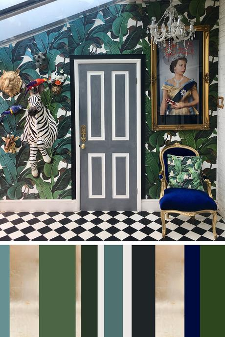 Tropical interior inspiration - quirky hallway with black and white floor tiles and green banana leal wallpaper