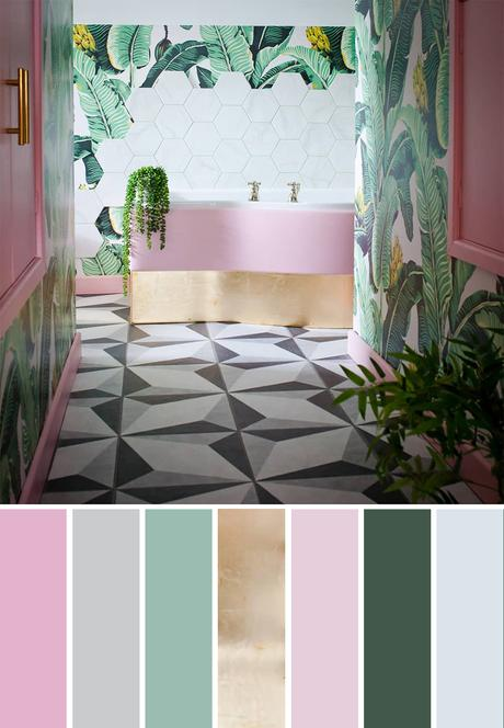 Tropical color palette inspiration - blush pink, gold and green tropical bathroom with banana leaf patterned wallpaper and monochrome floor tiles.
