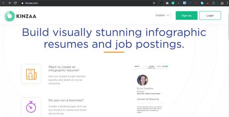 Kinzaa: Visually stunning infographic resumes and job postings.