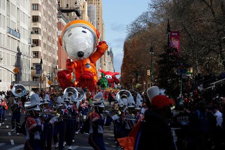 Snoopy, the Longest-Running Character Balloon in the Macy's Parade, soared for his 40th flight down the Streets of Manhattan and his Second time as Astronaut Snoopy (he First Wore a Space Suit for the 1969 Parade). This time sporting a Brand-New Orange Spacesuit Honoring the 50th Anniversary of the First Moon Landing