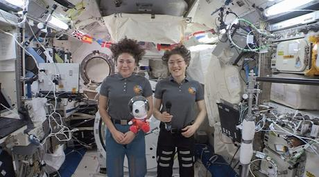 """World-Famous Beagle Snoopy—in 8-Inch Plush Form—Was """"Floating On Air"""" with Astronauts Christina Koch and Jessica Meir as They Sent Greetings from the International Space Station to Millions of Macy's Parade Viewers, While a New 49-Foot Tall Astronaut Snoopy Macy's Parade Balloon Soared Over Manhattan"""