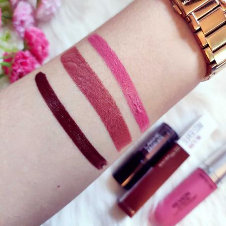 revlon devotion, lakme wild brown, maybelline protectore review and swatches