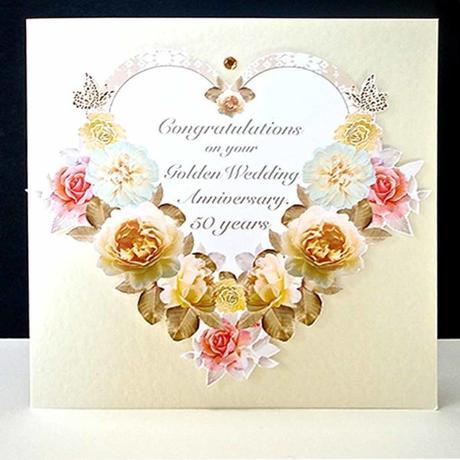 Antique Floral Heart - Handmade Golden Wedding Anniversary Card