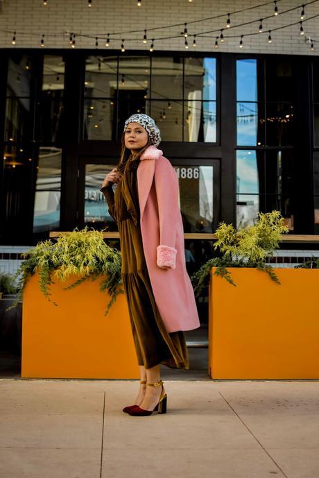 happyxnature, eco-conscious brand, eco friendly, sustainable clothing, USA made, kate hudson brand, velvet dress, fur sleeve coat, myriad musings, saumya shiohare