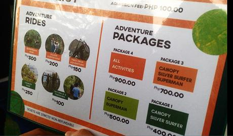 Tree top adventure rates and packages