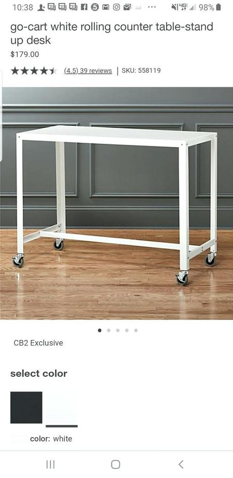 cb2 standing desk furniture bank toronto drop off go cart white rolling counter table stand up from