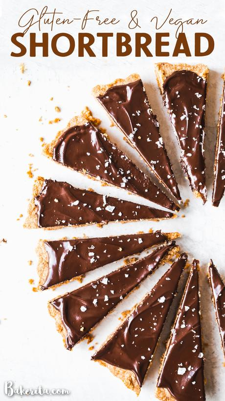 ThisGluten-Free Vegan Shortbread recipe tastes rich and buttery - without the butter. This simple recipe is made with just FOUR ingredients and can be topped with chocolate for an extra-special holiday treat.