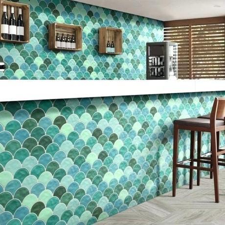 turquoise wall tiles illumina scale garden green
