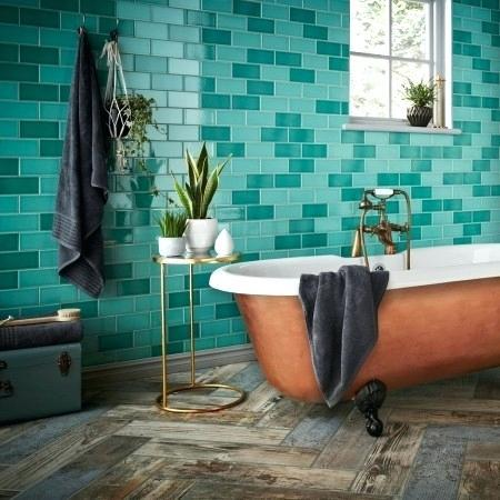 turquoise wall tiles large bathroom rustic blue reclaimed wood effect