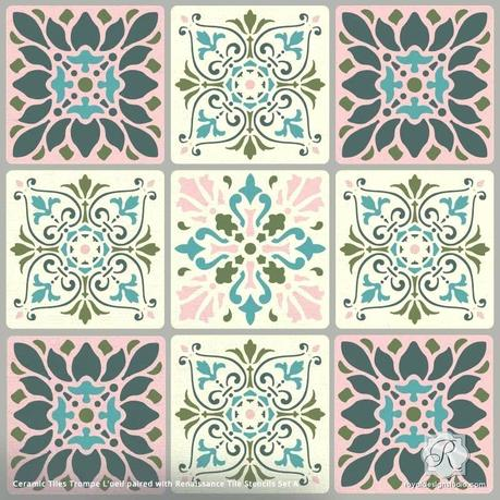 turquoise wall tiles kitchen ceramic stencil