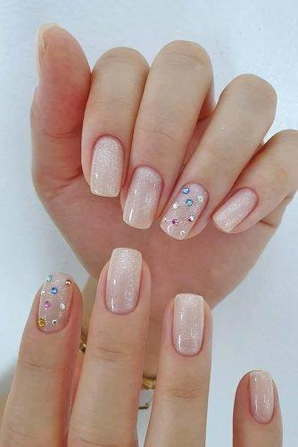 bridal nails trends pink shine nails with colorful rhinestones kangannynails