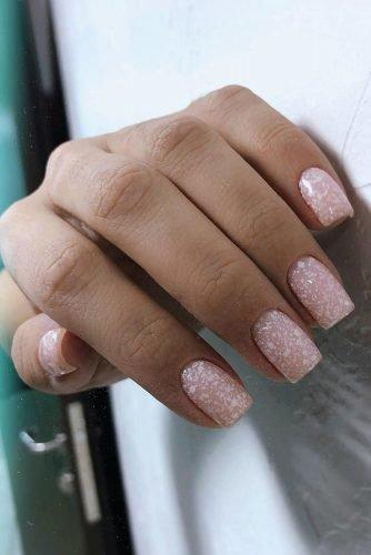 bridal nails trends nude beige with white grains m.v.beauty.nails
