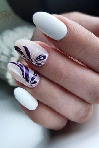 bridal nails trends white polish lilas flower petals artemova_art_nail