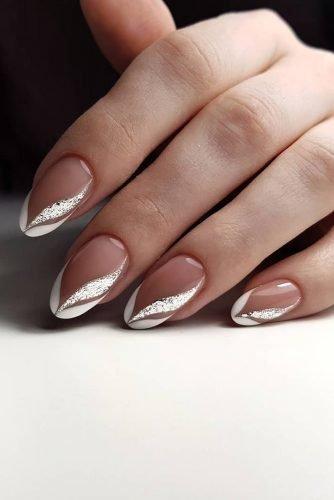 bridal nails trends french manicure silver glitter figure design artemova_art_nail