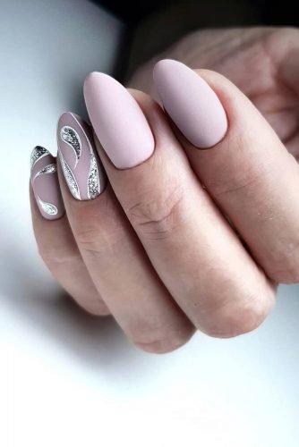 bridal nails trends matte pink with silver glitter decor artemova_art_nail