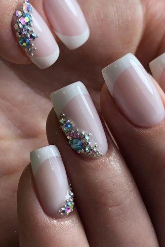 bridal nails trends french manicure gentle elegant rhinestones design ideas creative_nails_studio