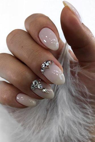 bridal nails trends white transparent with silver rhinestones design glebova.m.e