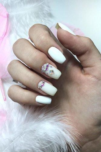 bridal nails trends white polish bink and silver rhinestones m.v.beauty.nails