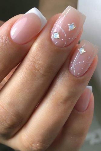 bridal nails trends white pink french manicure gentle original rhinestones design xnails_baku